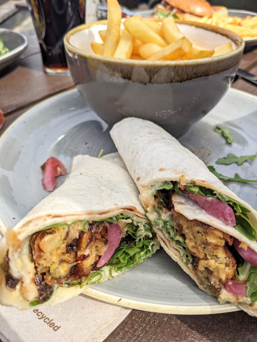 Falafel wrap and chips