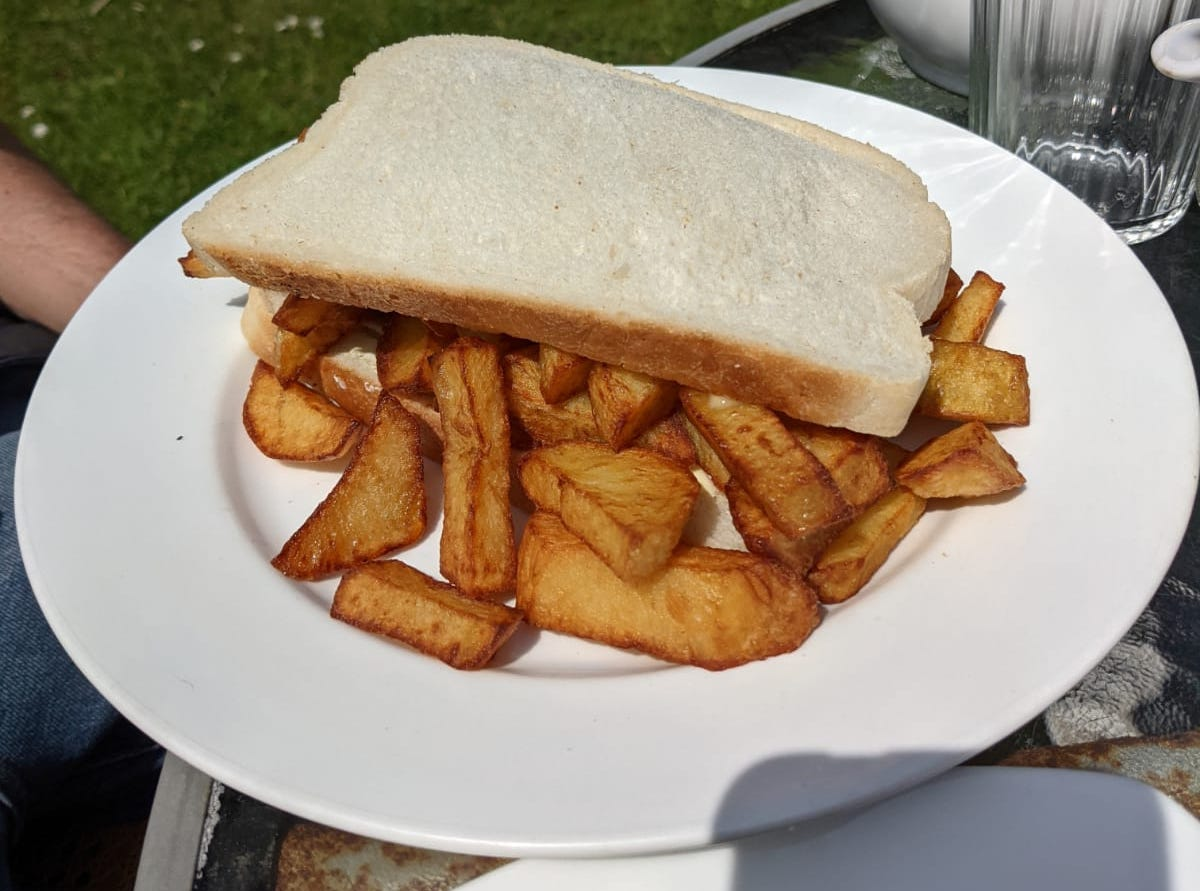 chip butty at fran's tea room