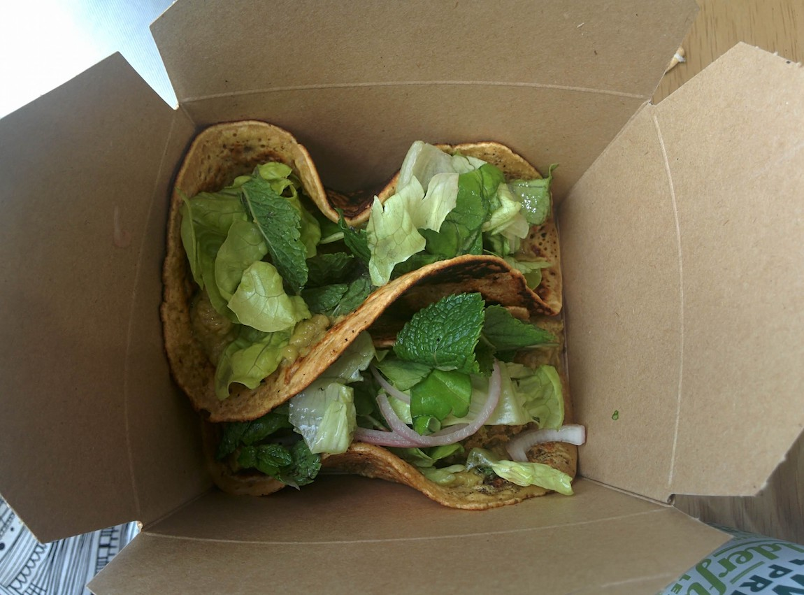 vegan taco at mara in corrie