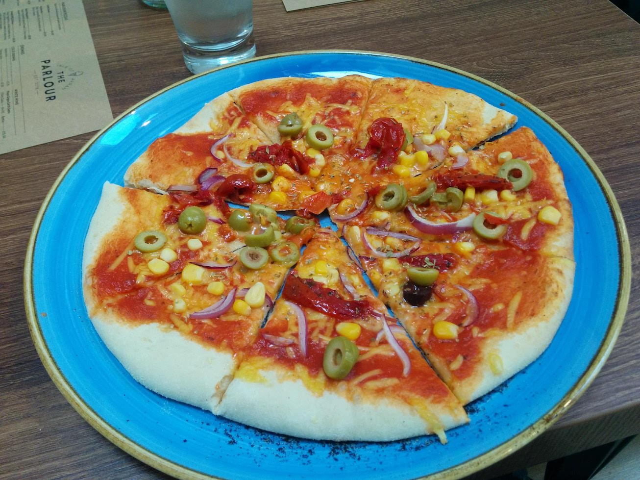 vegan pizza at The Parlour