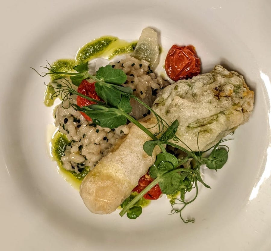 Pea risotto and courgette flowers Lagg Hotel 2021
