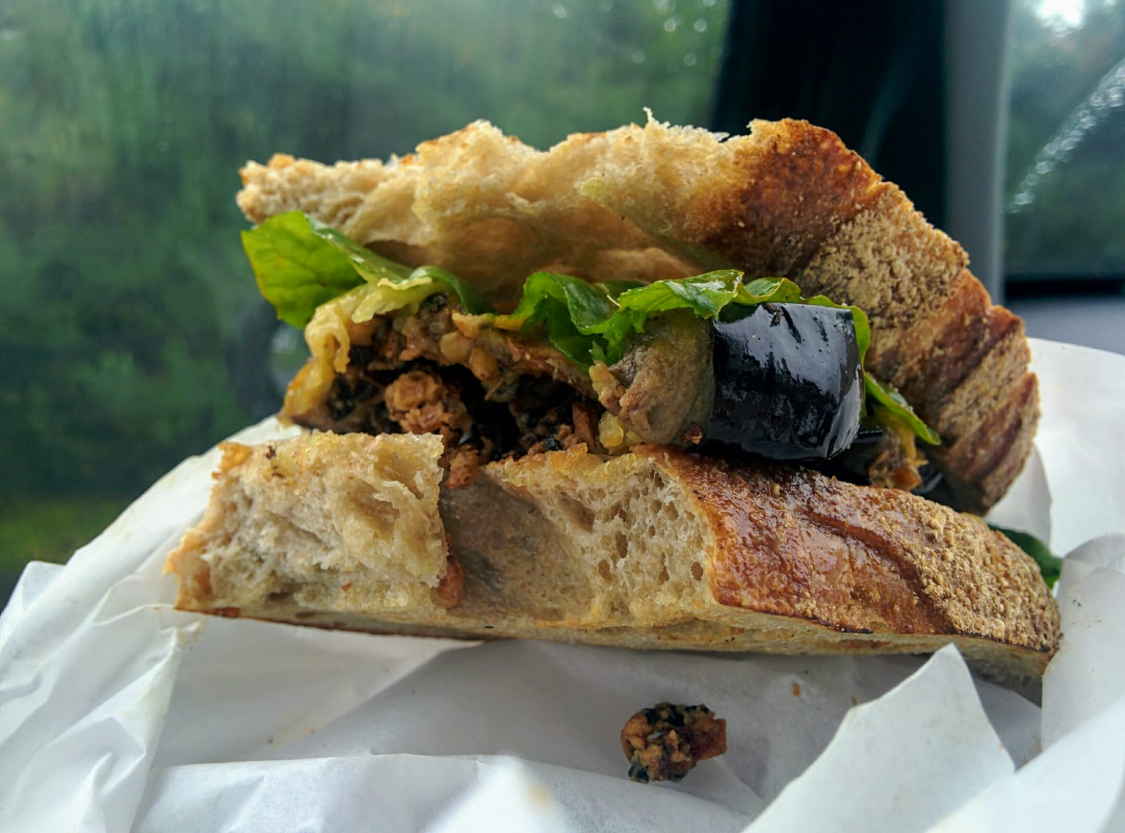 Aubergine and spiced onions on focaccia at the Sandwich Station (2019)