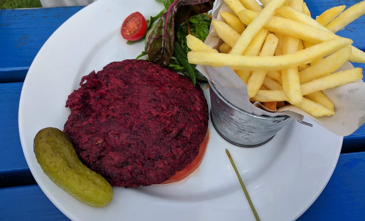 vegan beetroot burger from the drift inn