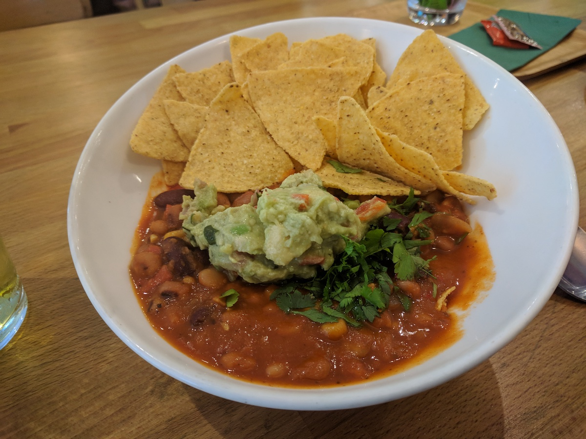 vegan chilli at the wine port arran
