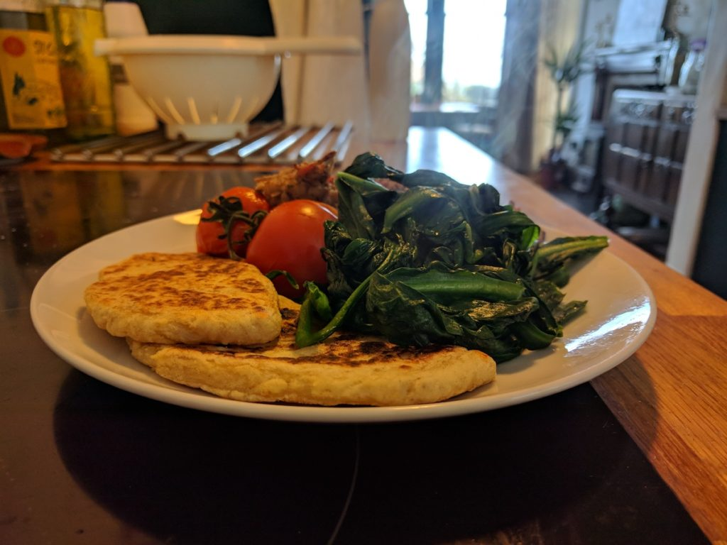 vegan breakfast with wilted wild garlic