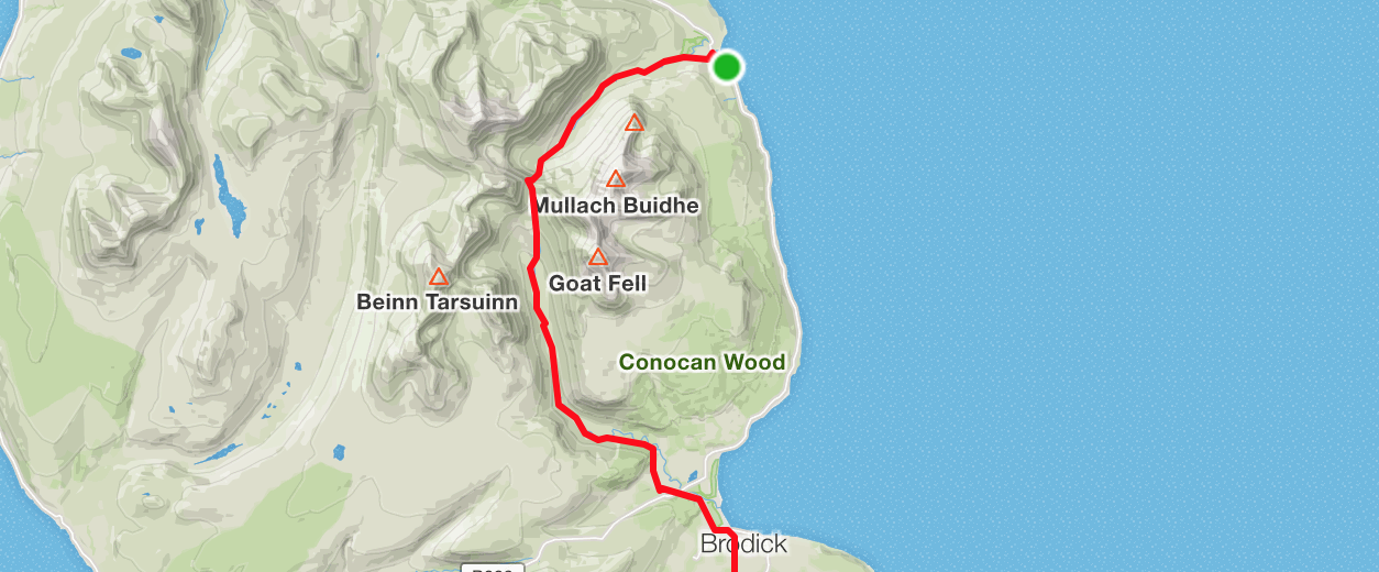maps of glen sannox to brodick