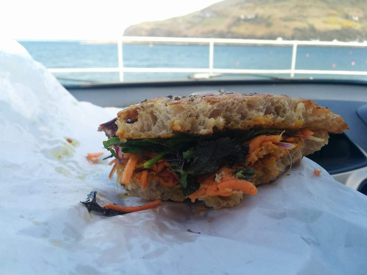 sweet potato with lime pickle sandwich